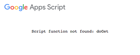 Script function not found: doGet