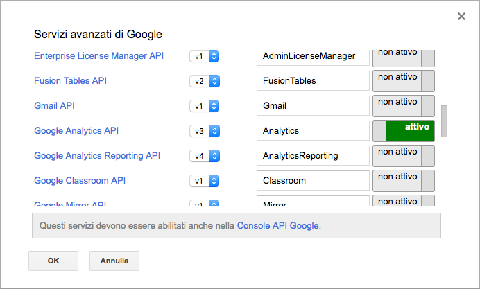 google analytics api abilitate