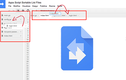 estensione per chrome - apps script sortable list files