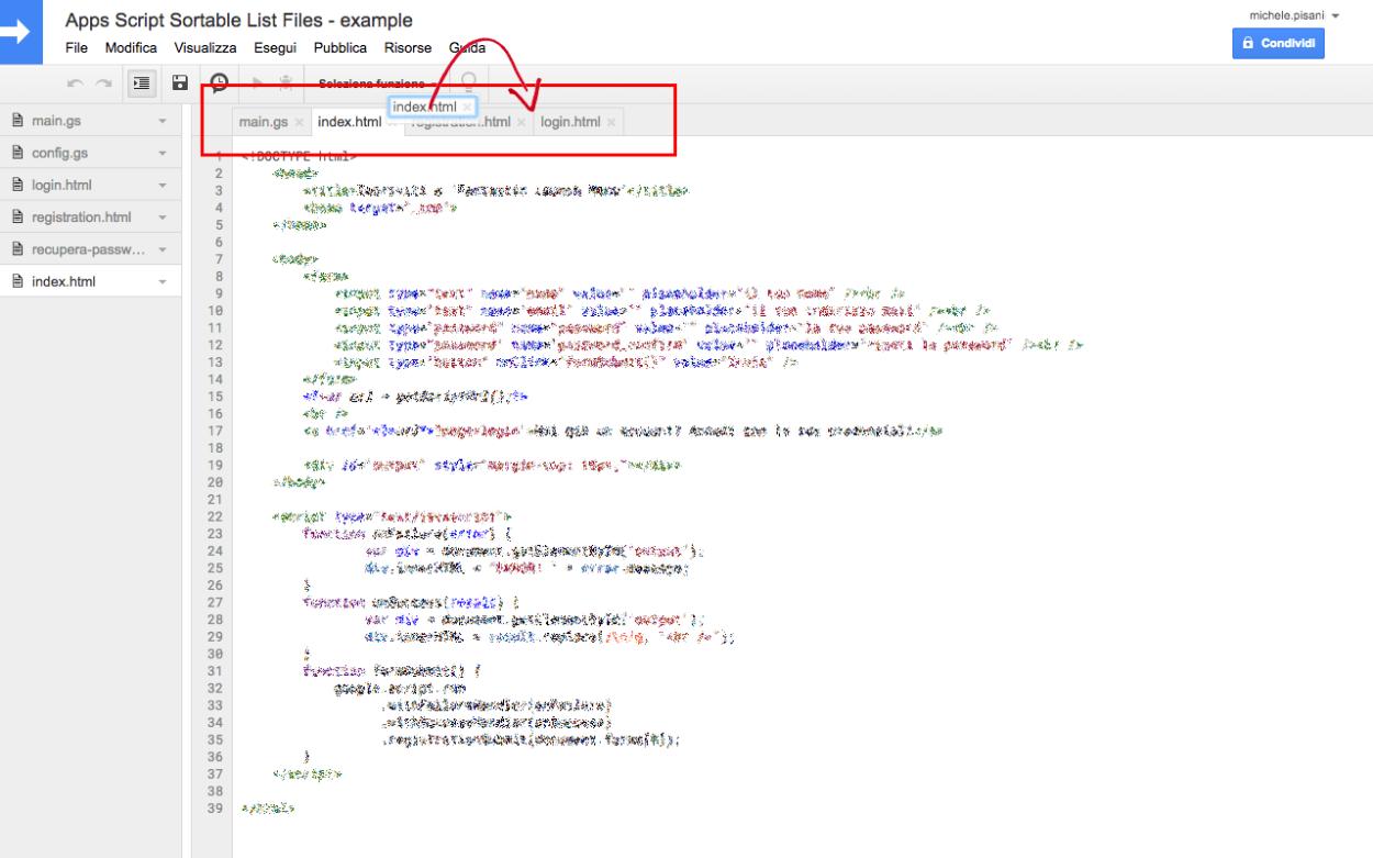Apps Script Sortable List Files -Esempio di ordinamento delle tabs nell'editor