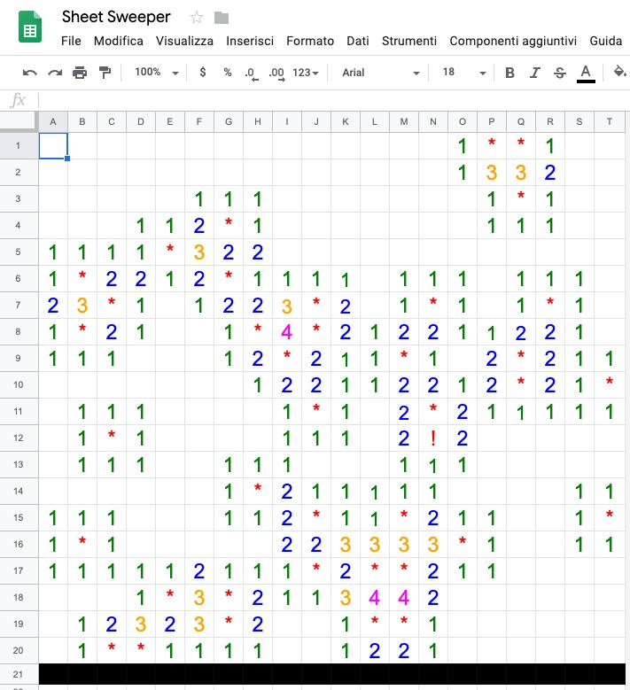 campo minato con google sheets