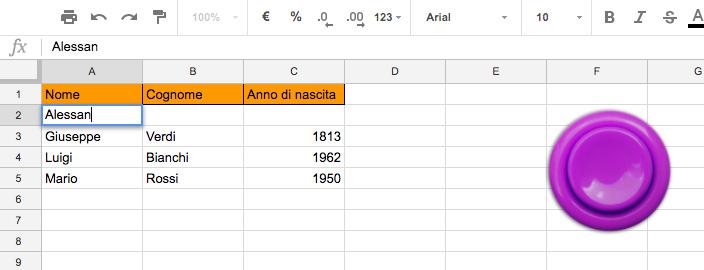 eseguire una funzione al click su un bottone in uno spreadsheet e far tornare il focus su un cella