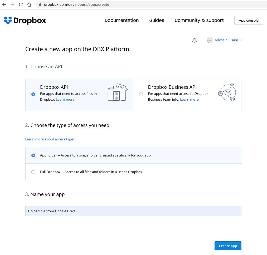creazione di una nuova app in Dropbox