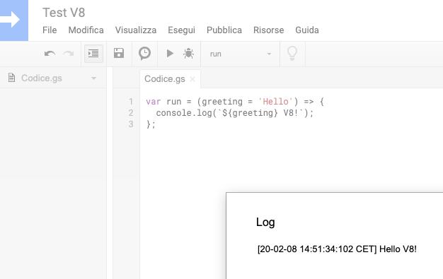 log di esecuzione di una funzione con runtime v8