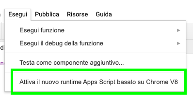 attivazione runtime v8 da menu