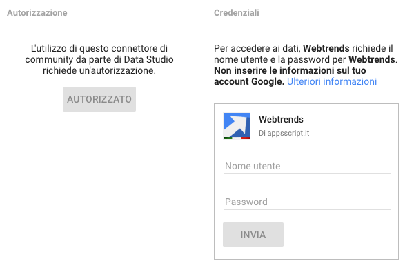 webtrends data studio community connector - credenziali di accesso