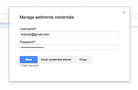 webtrends custom reports generator - gestione credenziali