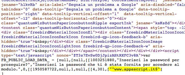 password richiesta dalla domanda presente in chiaro nel sorgente della pagina