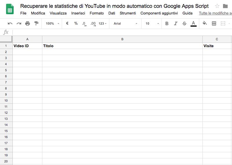 spreadsheet preparato per ospitare le informazioni dei video recuperate tramite le API di YouTube