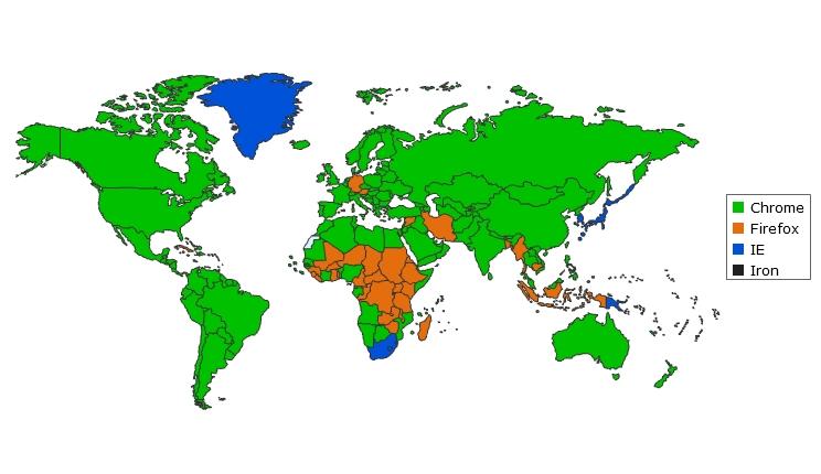 SEO - Mappa mondiale sull'utilizzo dei browser da giugno 2014 ad agosto 2014
