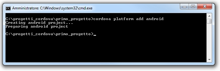 Apache cordova - Esempio di risposta della CLI se si lavora su un progetto creato in modo corretto