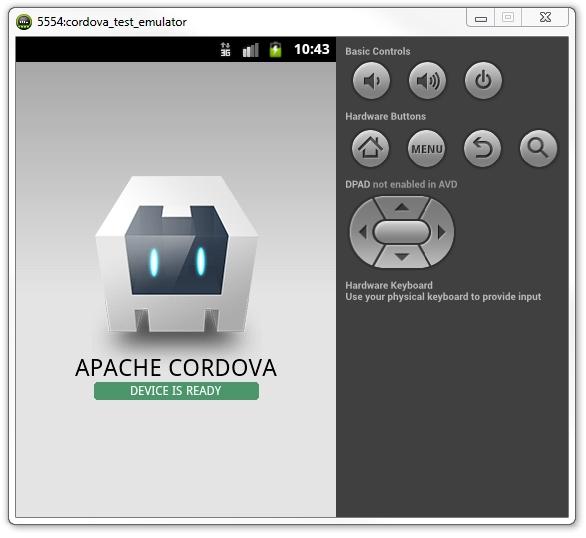 Android - Progetto cordova eseguito sull'emulatore di Android