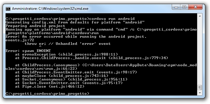 Apache cordova - An error occurred while running the android project