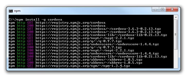 Apache cordova - Comando per CLI npm install -g cordova