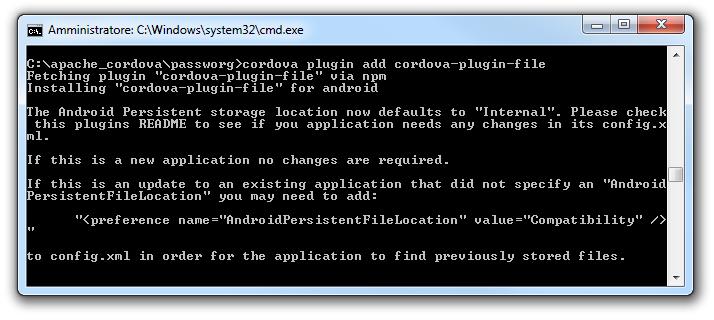 Cordova - Modificare il file config.xml nel caso non sia specificato il path si salvataggio