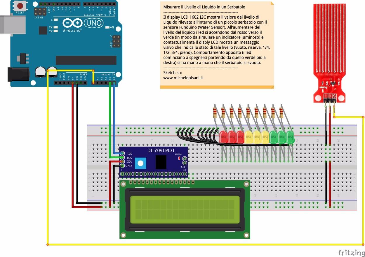 arduino - misurare il livello di un liquido in un piccolo contenitore