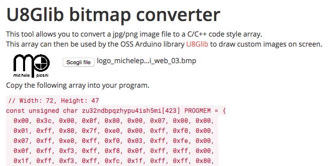 Arduino - U8Glib bitmap converter