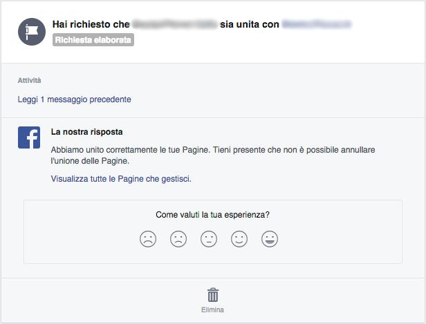 Facebook - Richiesta elaborata per l'unione delle pagine