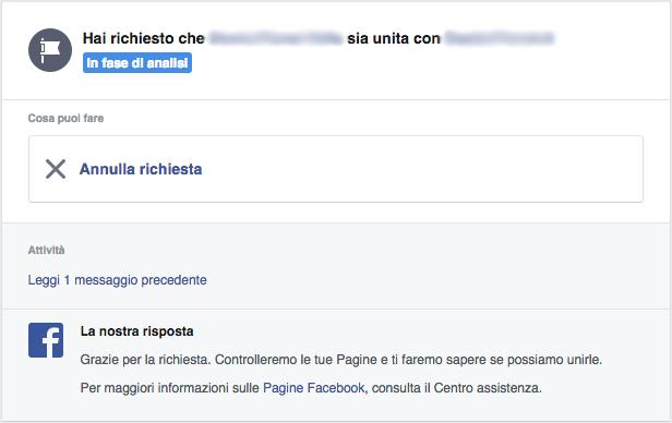 Facebook - Richiesta unione pagine in fase di analisi