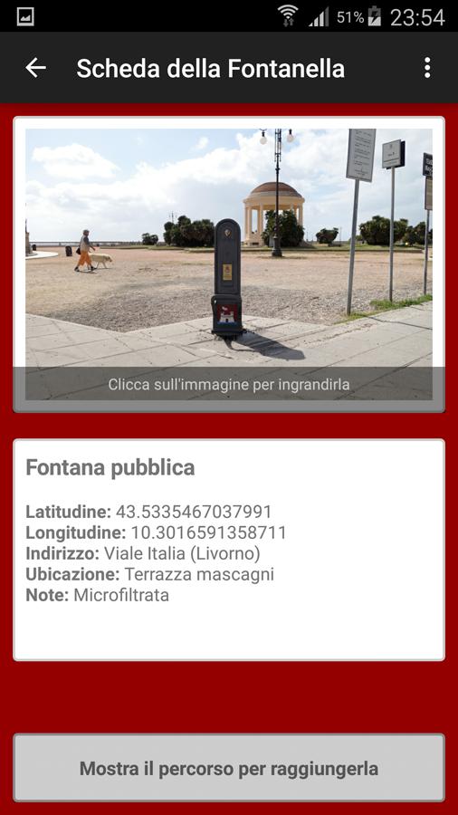 Fontanelle a Livorno - Scheda dettaglio della fontanella selezionata