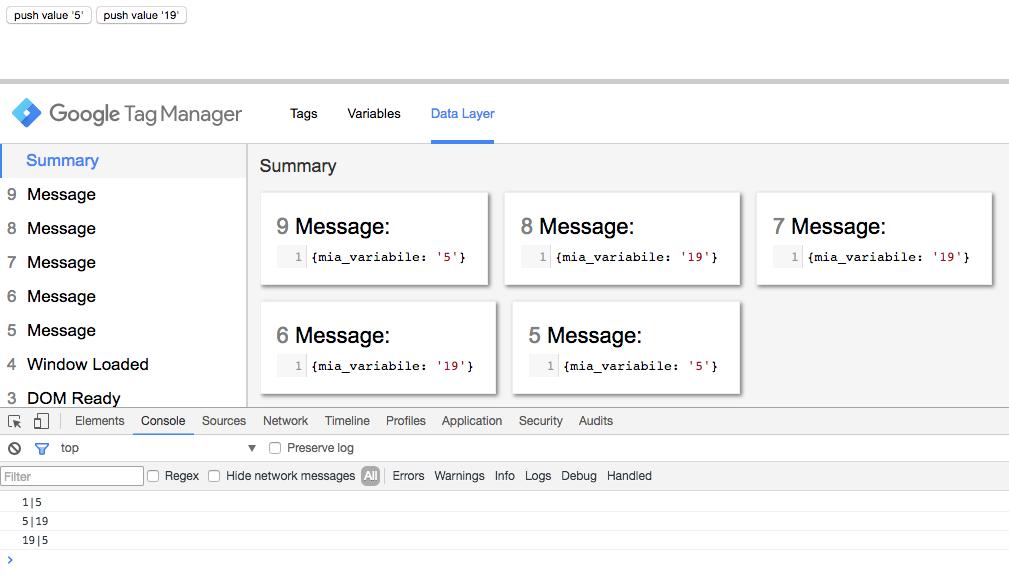 Google Tag Manager - metodo watch - push al dataLayer ancora del secondo valore e poi del primo
