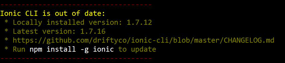 Ionic - Ionic CLI is out of date