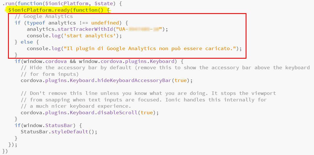 Ionic e Google Analytics - Inizializzazione dell'ID di monitoraggio tramite startTrackerWithId