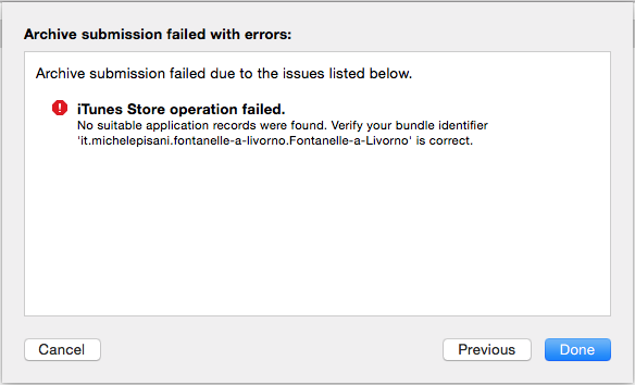 iTunes Store operation failed - No suitable application records were found