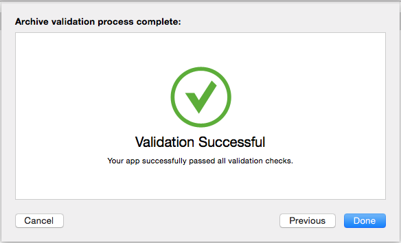 Your app successfully passed all validation check