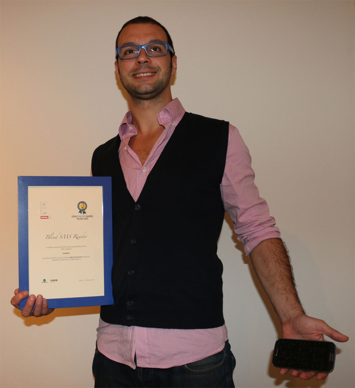 SMAU - Michele Pisani vince al Mob App Awards con Blind SMS Reader