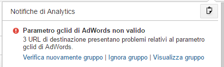 Notifiche Analytics - Parametro gclid di AdWords non valido