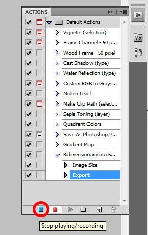 Photoshop - Le Azioni - icona Stop per fermare la registrazione delle azioni