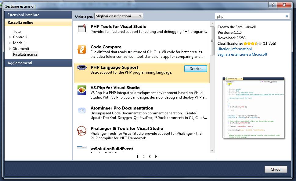 PHP - Finestra di Gestione estensioni con ricerca di risultati effettuata