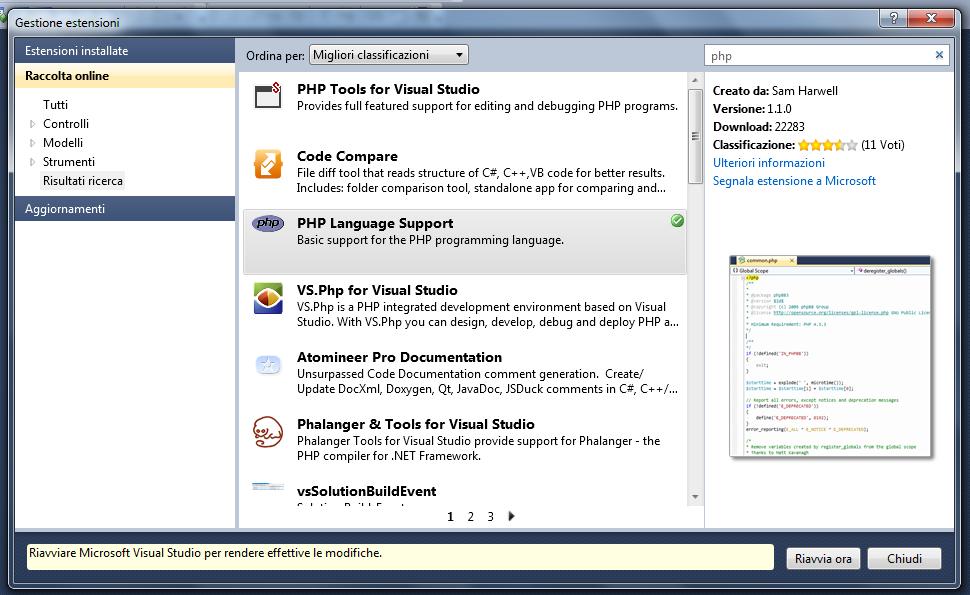 PHP - Finestra di Gestione estensioni dopo l'installazione del prodotto PHP Language Support