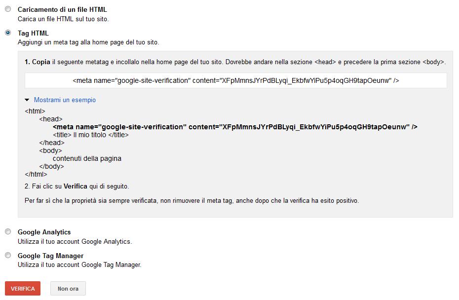 Il meta tag google-site-verification per la verifica della proprietà di un sito