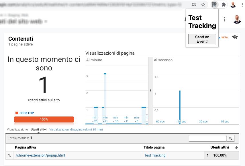Google Analytics - Visualizzazione di pagina dell'estensione di Chrome