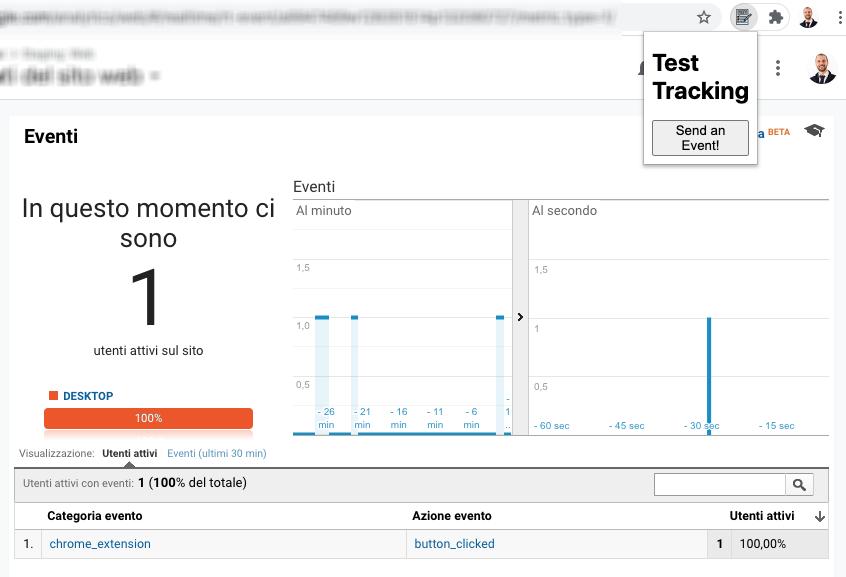 Google Analytics - Evento al click su un elemento dell'estensione di Chrome