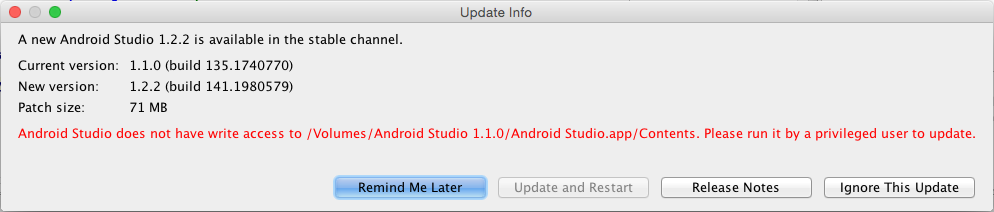 Android Studio does not have write access to 'path'. Please run it by a privileged user to update
